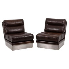Jacques Charpentier, Pair of Armchairs in Leather, 1970s