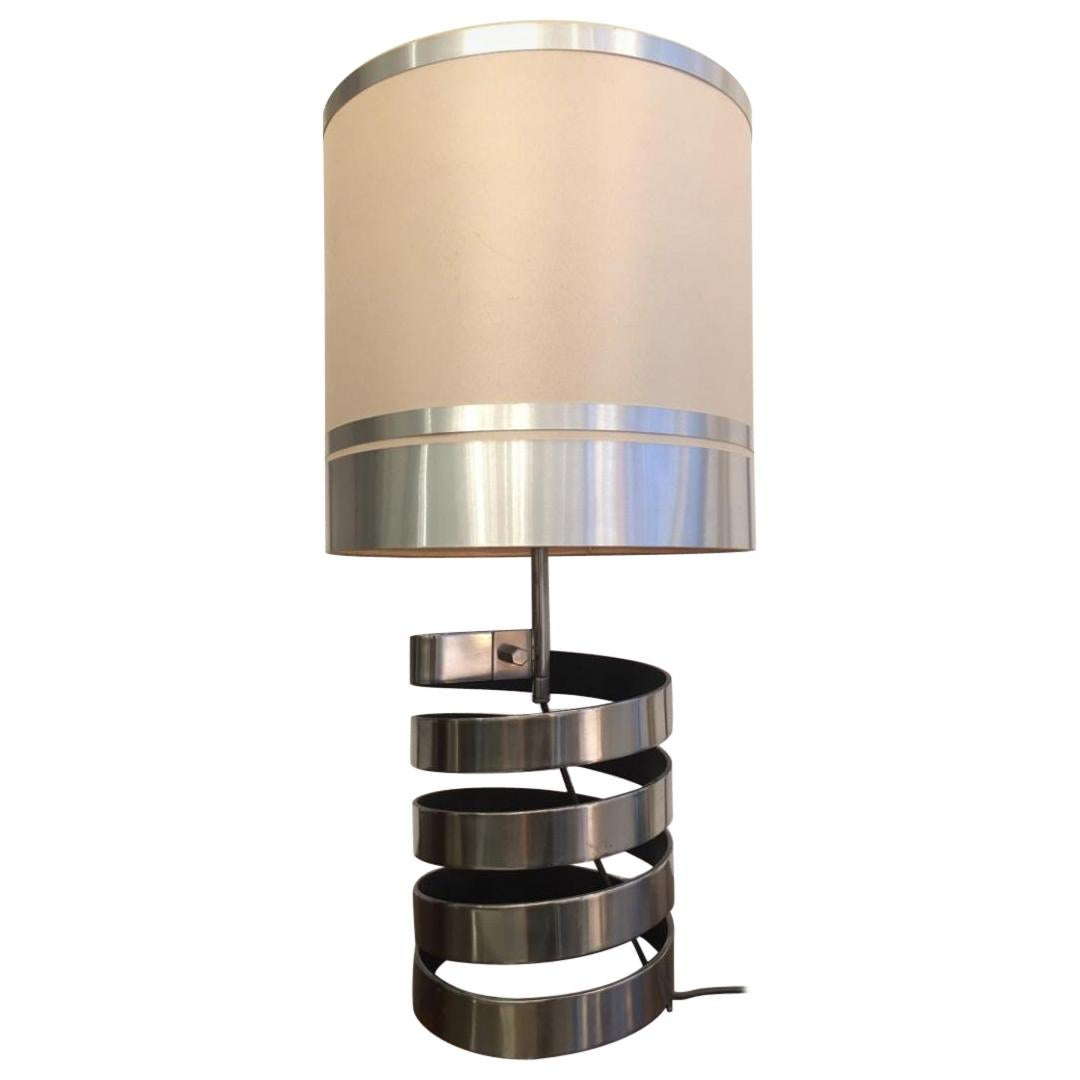 Jacques Charpentier Stainless Steel Table Lamp France, circa 1970