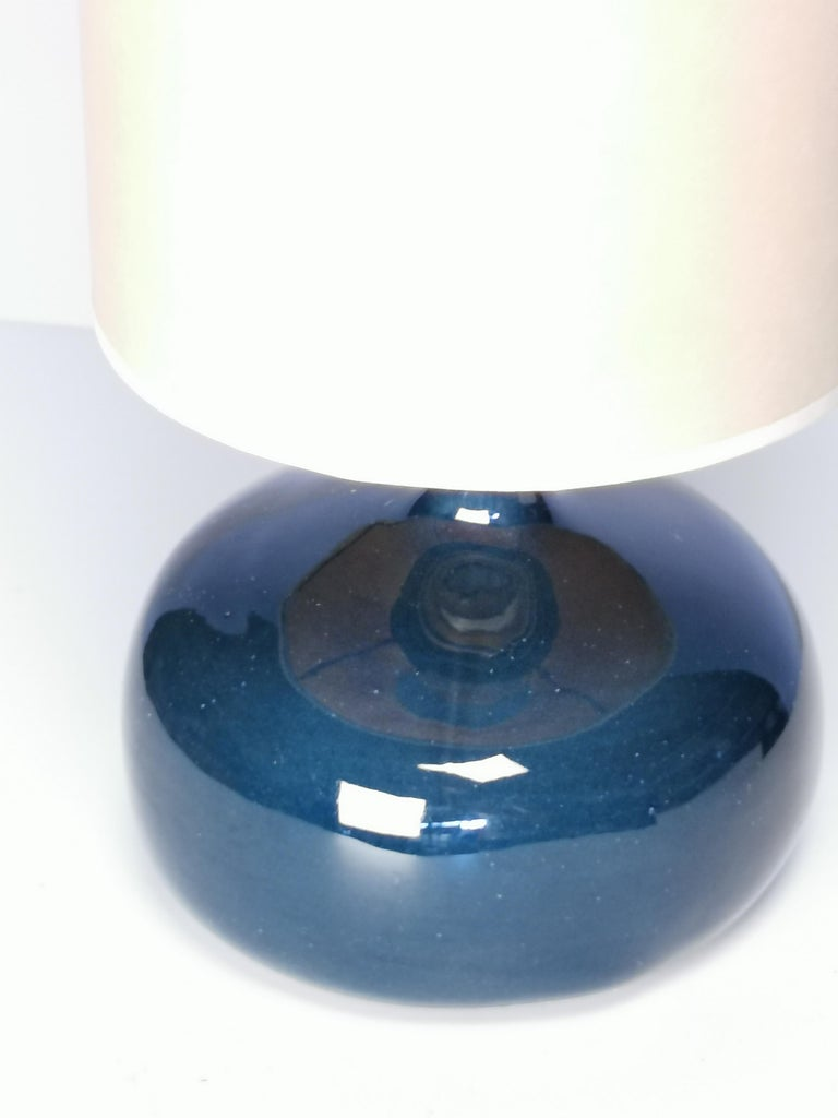 Mid-Century Modern Jacques and Dani Ruelland, Dark Blue Enameled Table Lamp, 1960s For Sale