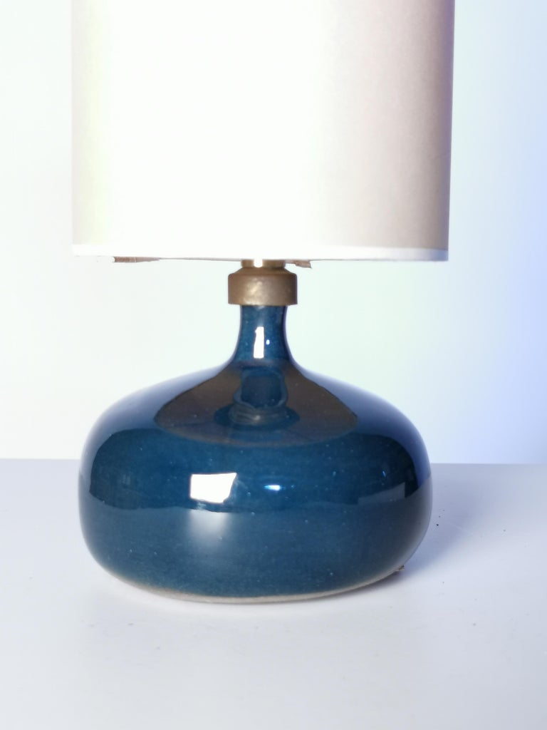 Jacques and Dani Ruelland, Dark Blue Enameled Table Lamp, 1960s In Good Condition For Sale In , DE