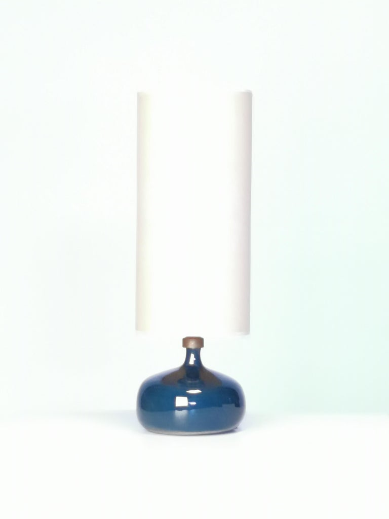 Jacques and Dani Ruelland, Dark Blue Enameled Table Lamp, 1960s For Sale 1