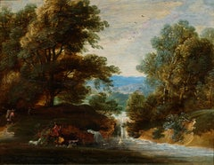 Waterfall Landscape Painting on Panel signed by Jacques d'Arthois Flemish School