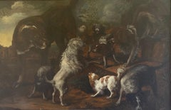 17th century Dutch painting of a Group of Dogs in a Landscape