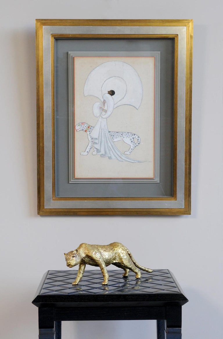 Jacques Duval-Brasseur Panthère in gilded bronze, France, 1970 For Sale 3