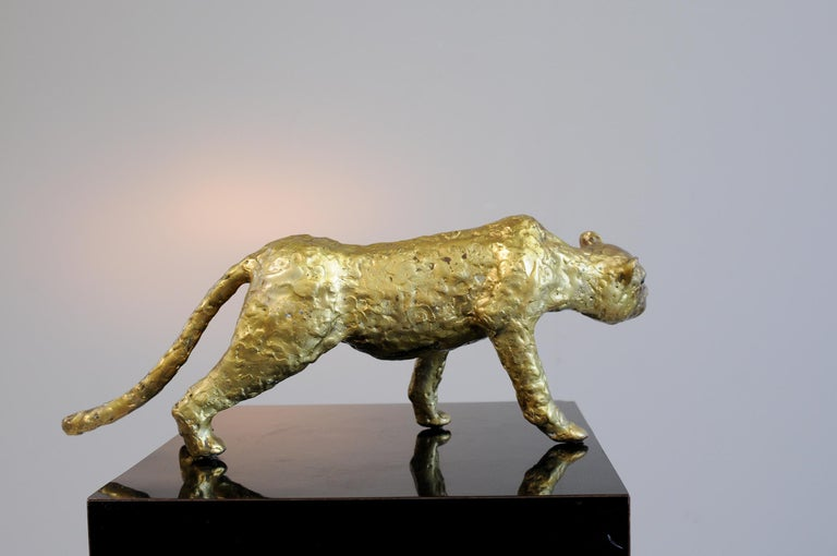 Jacques Duval-Brasseur (1934), panther in gilded bronze, signed under the belly, France, 1970. Unique piece.