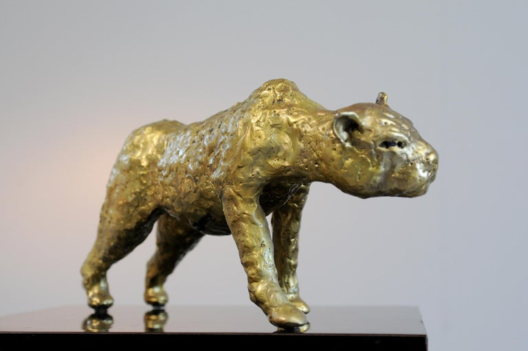 French Jacques Duval-Brasseur Panthère in gilded bronze, France, 1970 For Sale