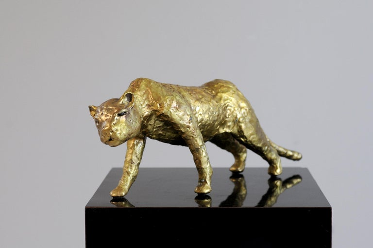 Jacques Duval-Brasseur Panthère in gilded bronze, France, 1970 In Good Condition For Sale In Catonvielle, FR