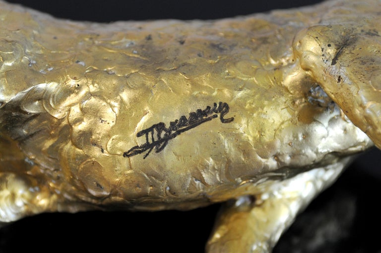Jacques Duval-Brasseur Panthère in gilded bronze, France, 1970 For Sale 1