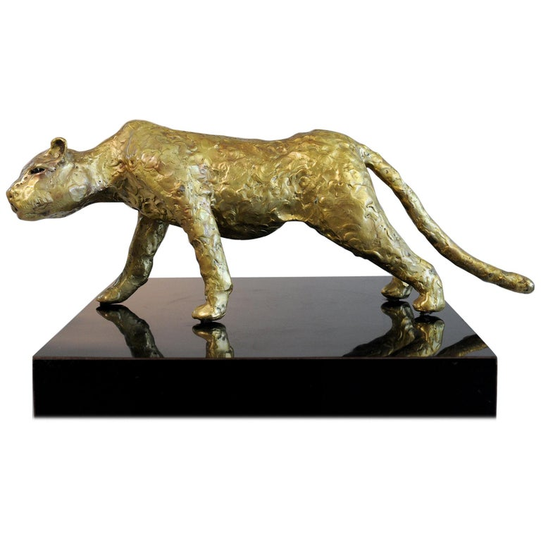 Jacques Duval-Brasseur Panthère in gilded bronze, France, 1970 For Sale