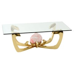 Jacques Duval-Brasseur Coffee Table with Mounted Rose Quartz 1970s 'Signed'