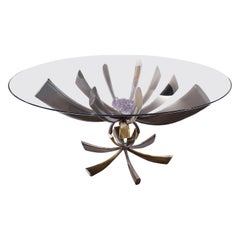 Jacques Duval-Brasseur Rare Table in Bronze with Mounted Amethyst 1970s 'Signed'