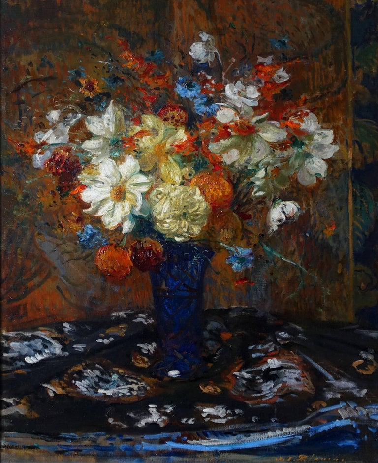 Floral Bouquet- French Victorian Impressionist art oil painting of flowers  For Sale 1
