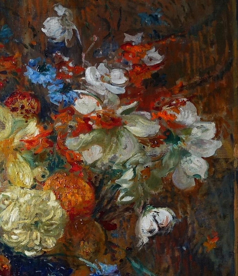 Floral Bouquet- French Victorian Impressionist art oil painting of flowers  For Sale 4