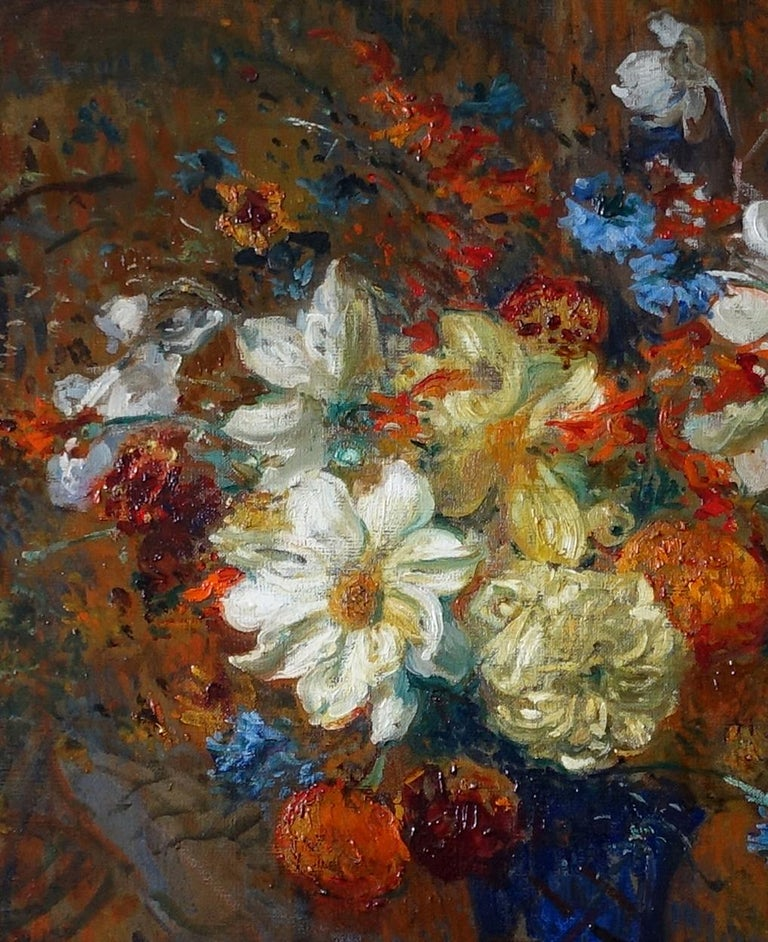 Floral Bouquet- French Victorian Impressionist art oil painting of flowers  For Sale 5