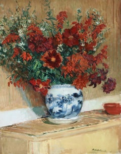 Flowers - 19th Century Oil, Still Life Vase Red Flowers by Jacques-Emile Blanche