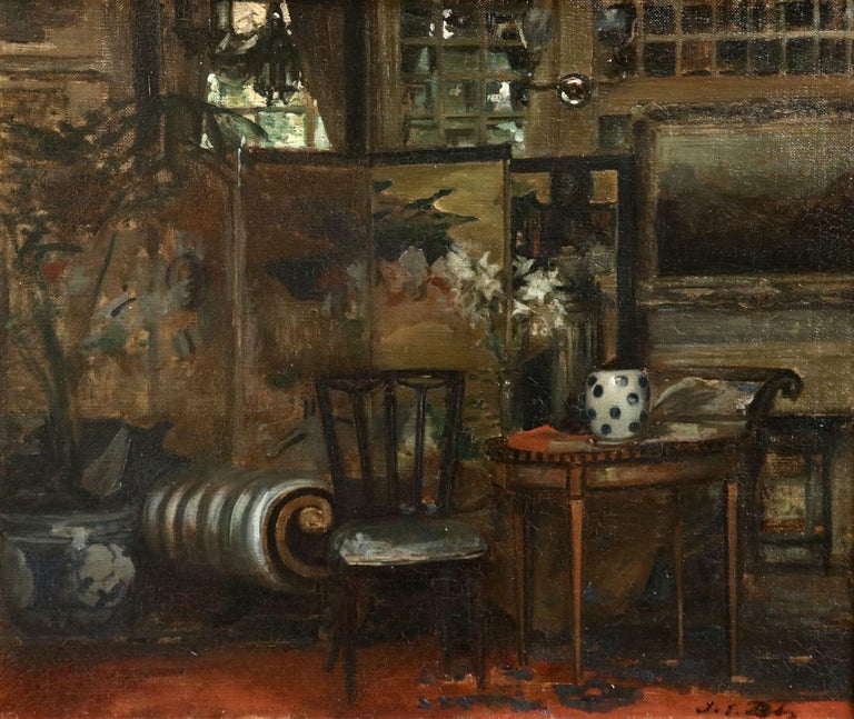 Oil on original canvas circa 1910 of an interior scene by Jacques Emile Blanche. Signed lower right. Framed dimensions are 21 inches high by 25 inches wide.  This work has been authenticated by Jane Roberts and is included in the Catalogue Raisonne