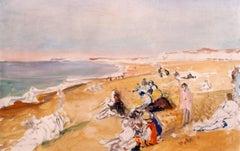 "Jacques Emile Blanche ""Dieppe Beach"" 1931, Oil on Canvas Impressionist"