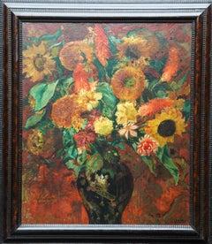 Sunflower Floral Arrangement - French 1930's Art Deco flower oil painting