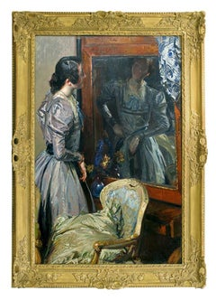 "19th Century Academic Portrait of a Woman by Blanche, ""Berenice In the Mirror"""