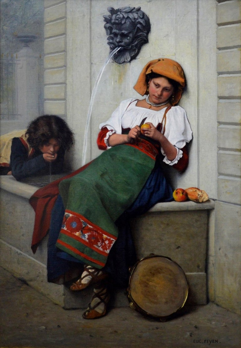 A large 19th century oil on canvas depicting a girl Italian girl sitting by a fountain peeling an apple by the eminent French academic painter Jacques-Eugène Feyen (1815-1908). 'La Fille à la Fontaine' is signed by the artist and presented in a good