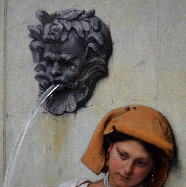 La Fille à la Fontaine - 19th Century French Oil Painting Young Italian Beauty For Sale 4