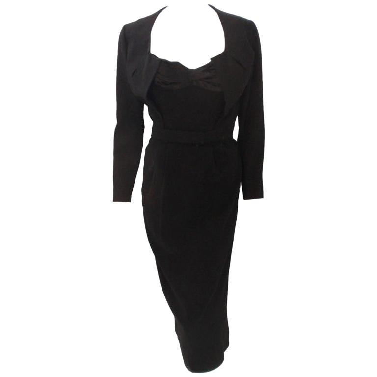 Jacques Fath 2pc Black Crepe Dress and Jacket Set, 1950 For Sale