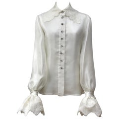 Jacques Fath Ivory Silk Organza Top-6
