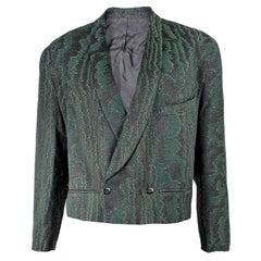 Jacques Fath Mens Vintage Metallic Brocade Short Jacket, 1980s