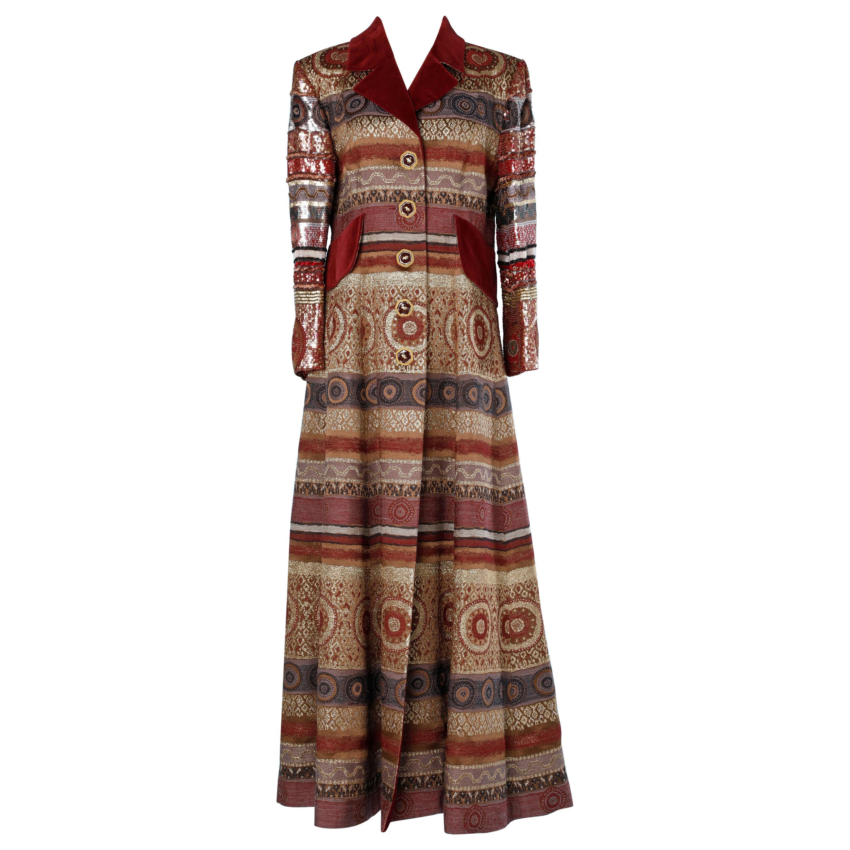 Jacques Fath Paris long damasked coat