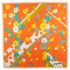 Jacques Fath Paris Silk Scarf Orange 1970s Floral Print