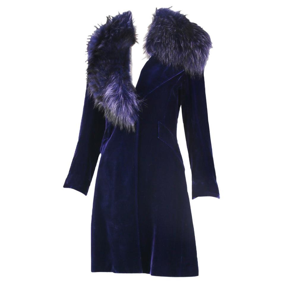 Jacques Fath Purple Velvet Coat w/Fur Collar