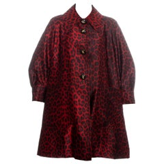 Jacques Fath red leopard print silk evening coat, fw 1992