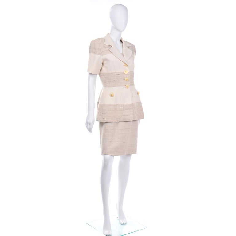 Beige Jacques Fath Vintage Ivory & Oatmeal Raw Silk Dress and Jacket Suit