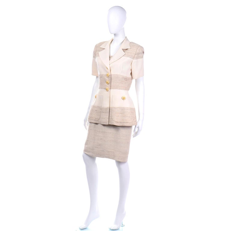 Women's Jacques Fath Vintage Ivory & Oatmeal Raw Silk Dress and Jacket Suit