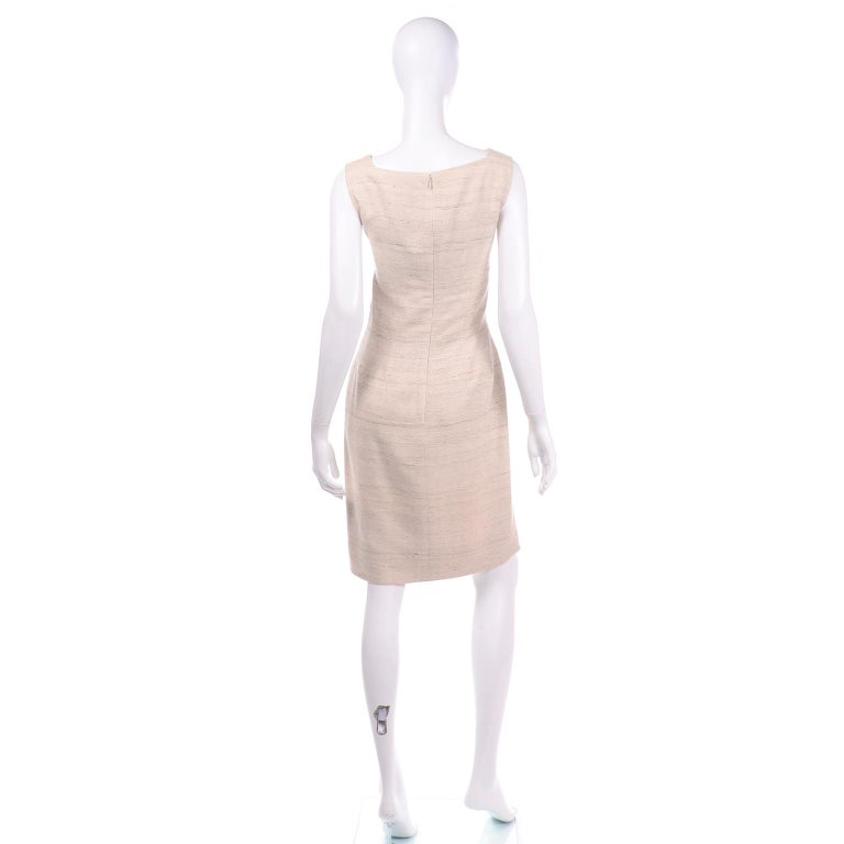 Jacques Fath Vintage Ivory & Oatmeal Raw Silk Dress and Jacket Suit 2