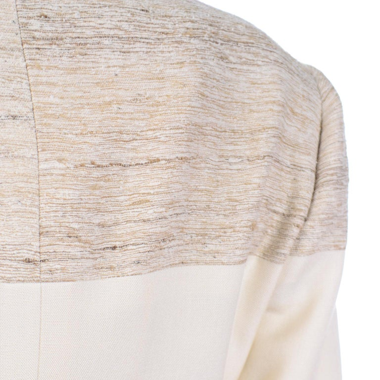 Jacques Fath Vintage Ivory & Oatmeal Raw Silk Dress and Jacket Suit 4