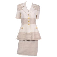 Jacques Fath Vintage Ivory & Oatmeal Raw Silk Dress and Jacket Suit