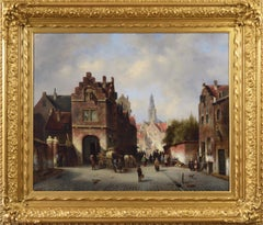 19th Century townscape oil painting of Bruges