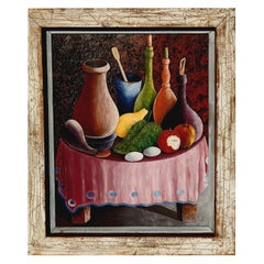 Jacques Gourgue Haitian Painter Oil on Board, Surreal Still Life