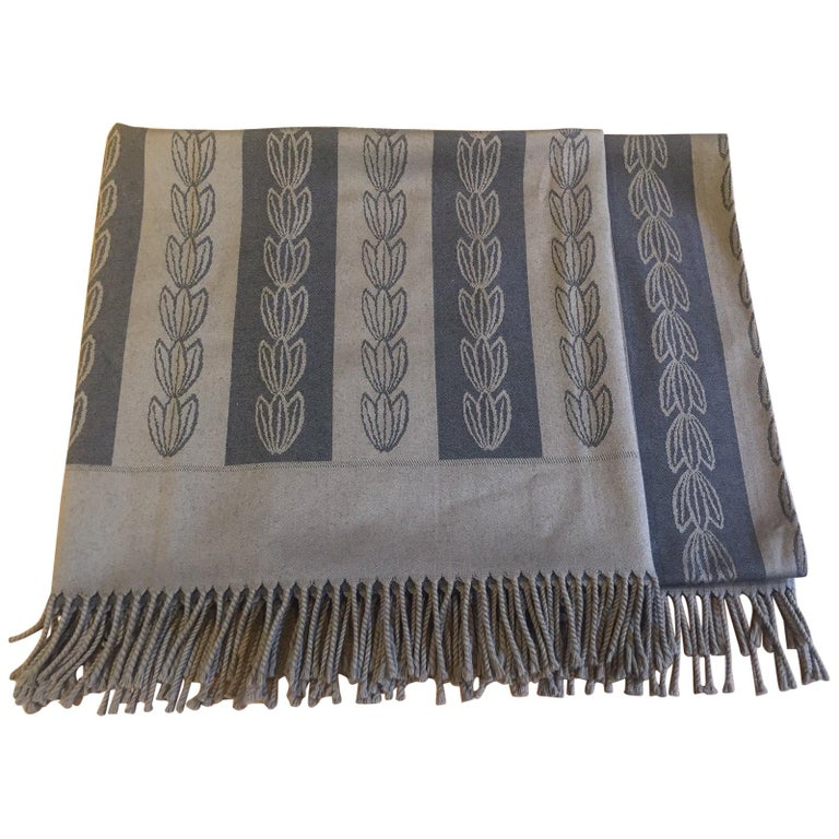 Jacques Gracia Throw by Baker Color Brown and Black Stripe Pattern For Sale