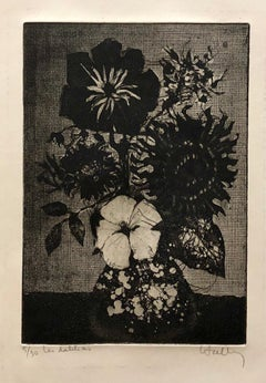 French Modernist Floral Etching 'Dahlias' Bouquet of Flowers