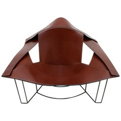 Jacques Harold Pollard Modern Italian Leather Lounge Chair for Matteo Grassi