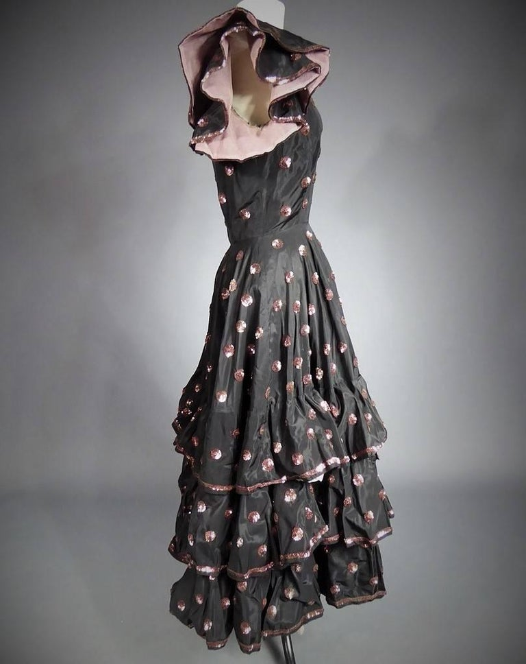 Black A French Jacques Heim Haute Couture Dress numbered 15365 Circa 1950 For Sale