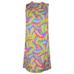Jacques Heim psychedelic print silk cocktail dress. circa 1960s
