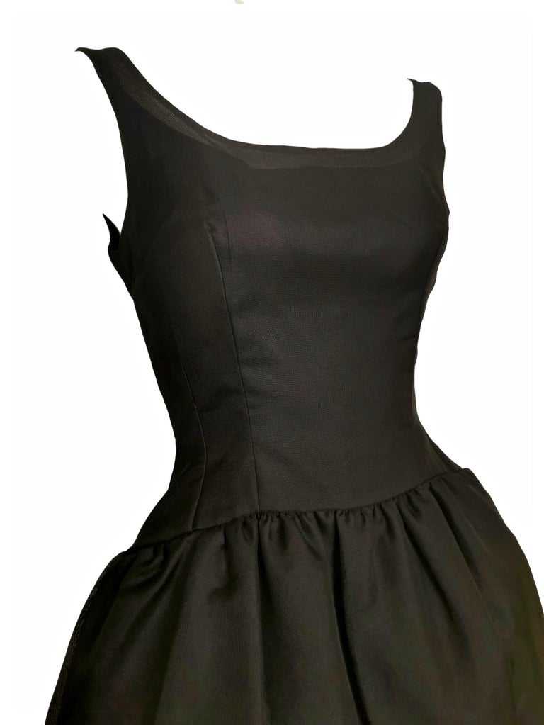 Black Jacques Heim Silk Gazar Dress Numbered Exclusive to Harrods For Sale