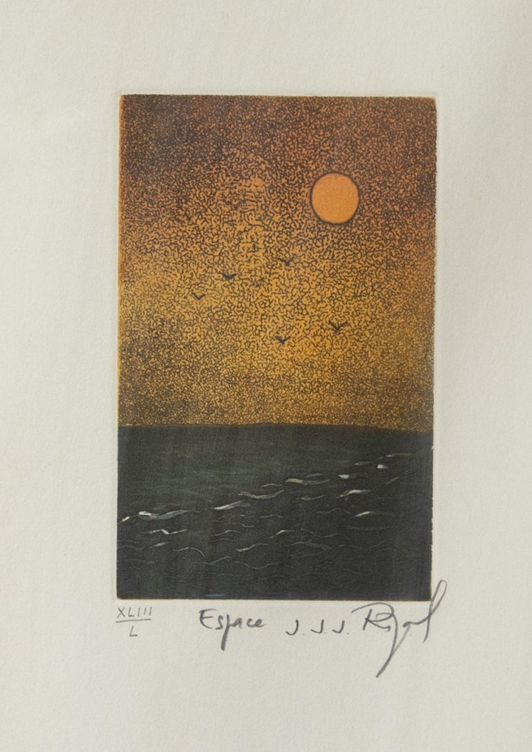 Espace  is an original artwork realized by Jacques Joachim Jean Rigal in the 1980s.  Original mixed colored etching on paper.   Hand signed, titled and numbered in pencil on the lower margin. Edition of 50.   The artwork represents an abstract