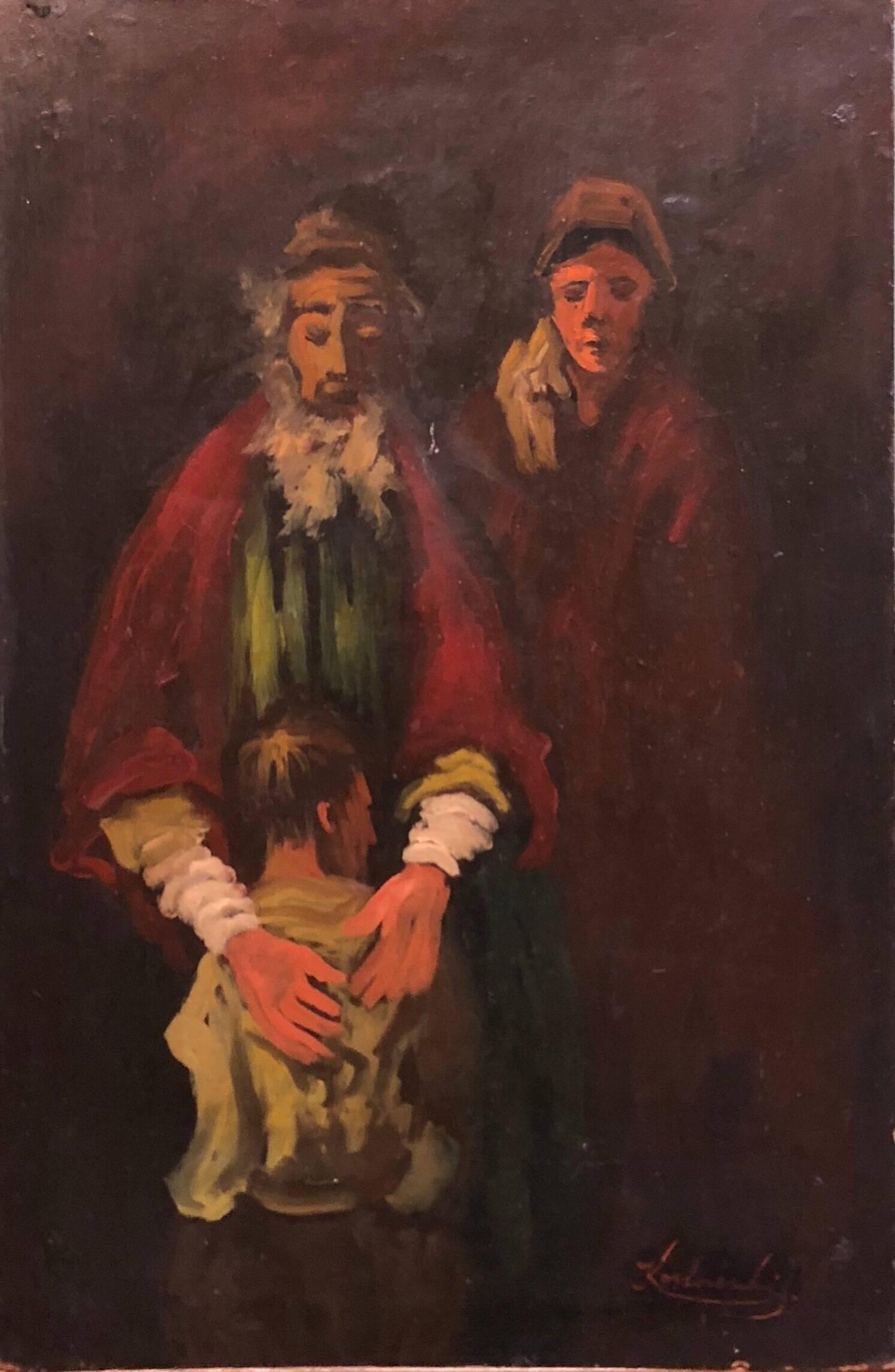 Lithuanian French Ecole de Paris Judaica Oil Painting Refugee Family