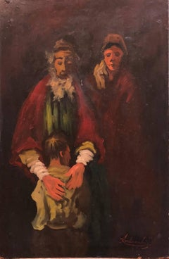 Lithuanian French Ecole de Paris Judaica Oil Painting Refugee Family