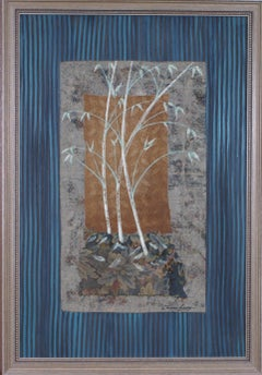 {Mixed Media Arborial Collage with Variegated Leaves }