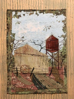Mixed Media Farmhouse, Barn Oil Painting Collage